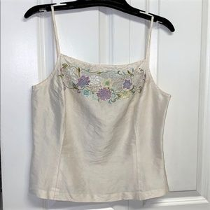 Cache Tank Top Size 12 Embroidered Floral